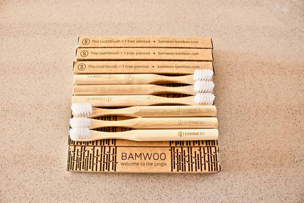 Year's Supply of BAMWOO's children's bamboo toothbrush in natural