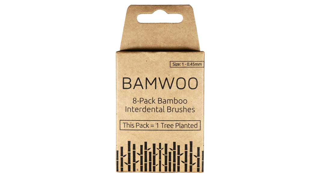 A size 1 - 0.45mm pack of BAMWOO bamboo interdental brushes