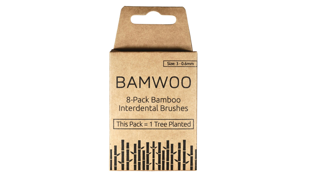 A size 3 - 0.6mm pack of BAMWOO bamboo interdental brushes