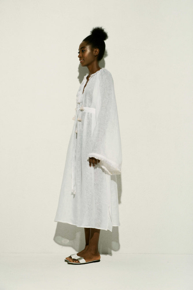 Jakarta Linen Midi Dress in White