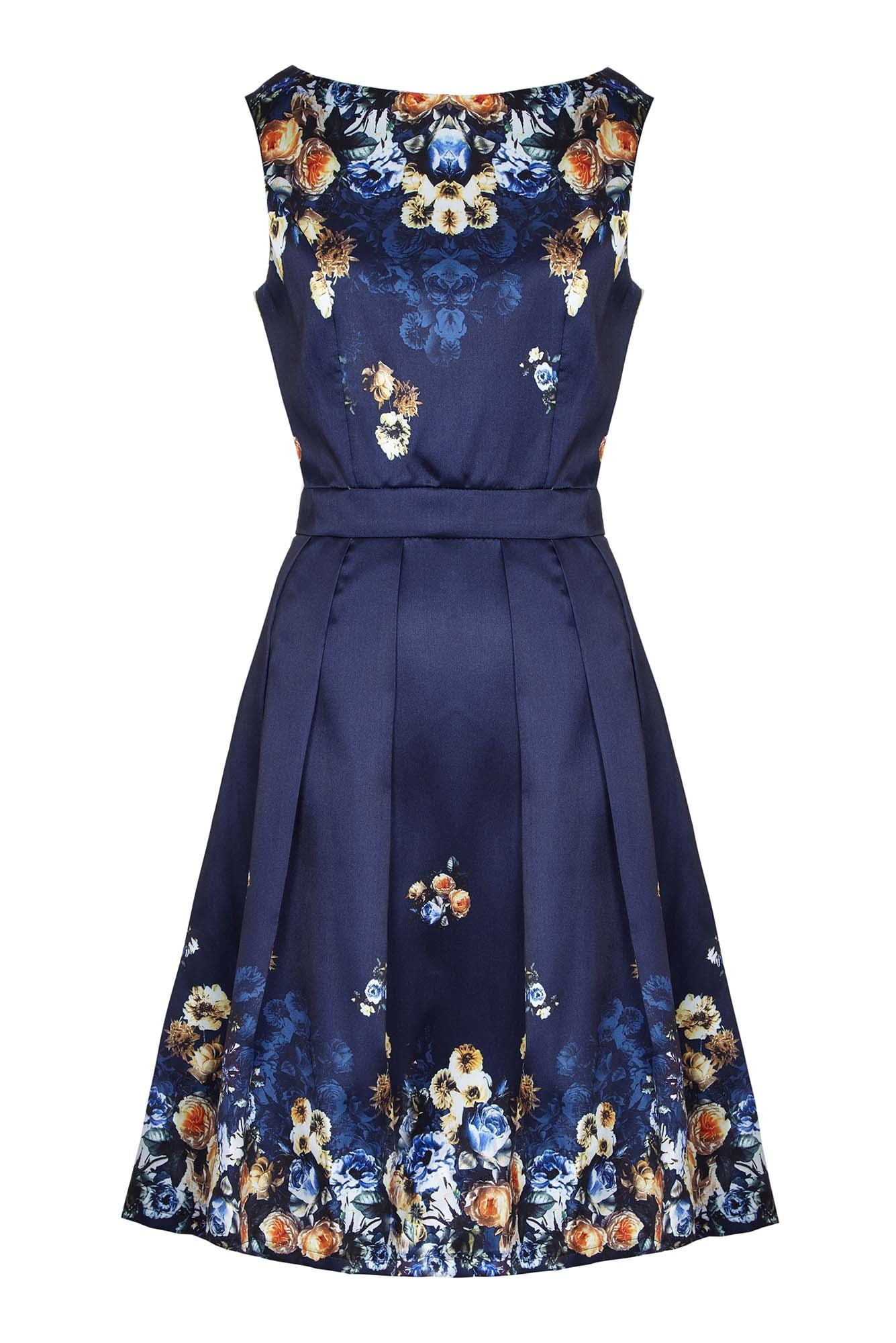 Blue Flower Print Prom Dresses