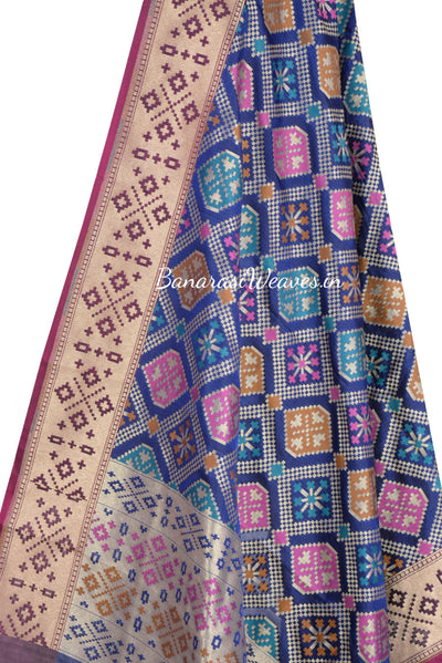 Navy Blue Banarasi dupatta with stylized abstract motifs and multicolour resham (10001811550049BV251)