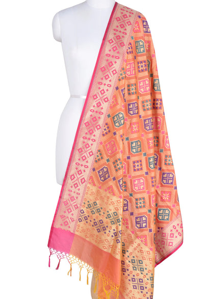 Orange Banarasi Dupatta with patan patola design and meenakari border (1) Main