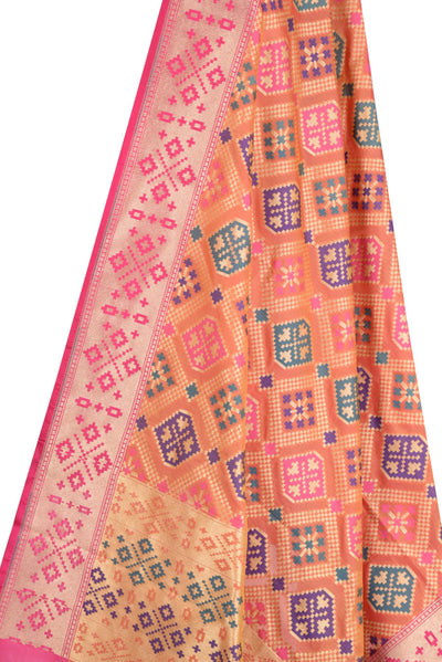 Orange Banarasi Dupatta with patan patola design and meenakari border (2) Close up