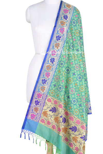 Sea Green resham embroidered Banarasi dupatta (1) Main