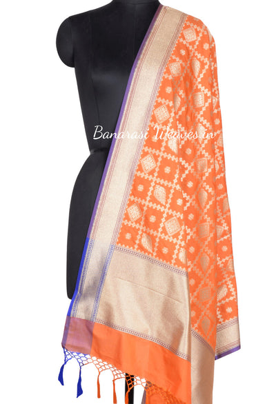 Orange Art Silk Banarasi dupatta with stylized flower boota in diamond shape (1) Main