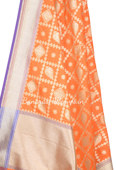 Orange Art Silk Banarasi dupatta with stylized flower boota in diamond shape (2) Close up
