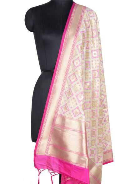Beige Banarasi dupatta with floral and plus motifs (1) Main