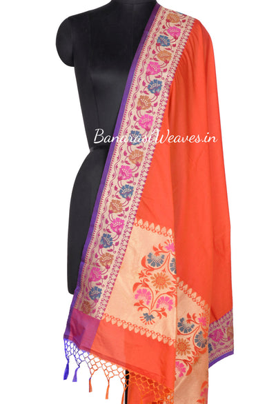 Plain Rust Art Silk Banarasi Dupatta with meenakari aanchal and border (1) Main