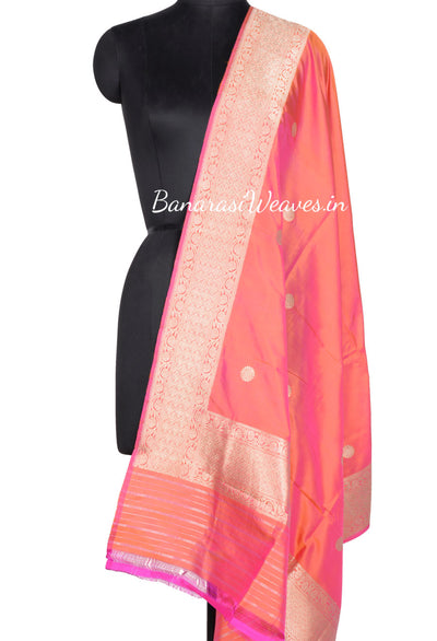 Peach Banarasi Dupatta with flower motifs in gold zari (1) Main