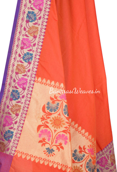 Plain Rust Art Silk Banarasi Dupatta with meenakari aanchal and border (2) Close up