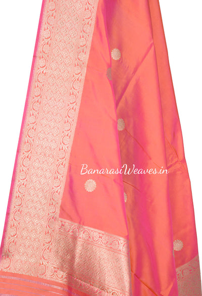 Peach Banarasi Dupatta with flower motifs in gold zari (2) Close up