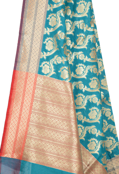Teal Banarasi Dupatta with artistic diagonal Floral jaal (2) Close up