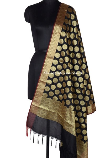 Black Art silk Banarasi Dupatta with floral design in round boota (12003110060078BK213) (HSN Code -6214)