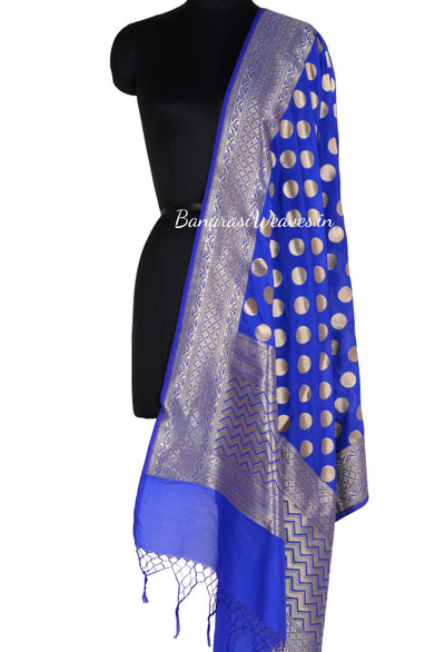 Royal Blue Art Silk Banarasi Dupatta with polka dots (1) Main