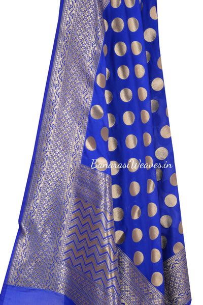 Royal Blue Art Silk Banarasi Dupatta with polka dots (2) Close up