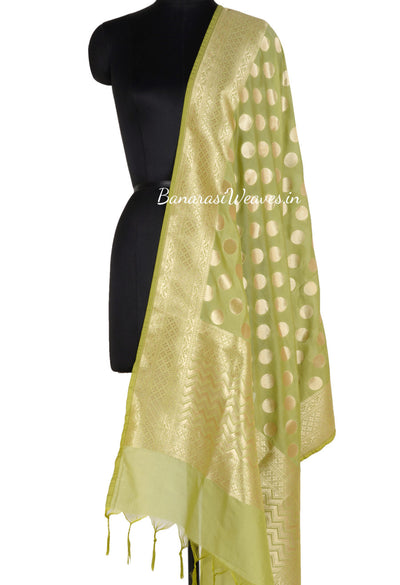 Green Art Silk Banarasi Dupatta with polka dots (1) Main