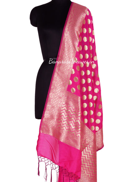 Magenta Art Silk Banarasi Dupatta with polka dots (1) Main