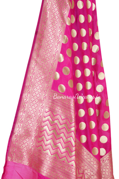 Magenta Art Silk Banarasi Dupatta with polka dots (2) Close up