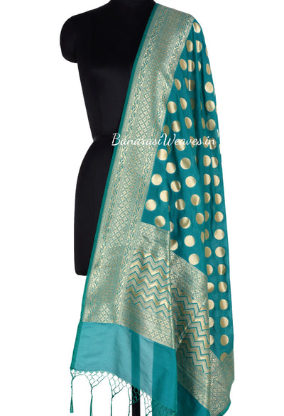 Dark Green Art Silk Banarasi Dupatta with polka dots (1) Main