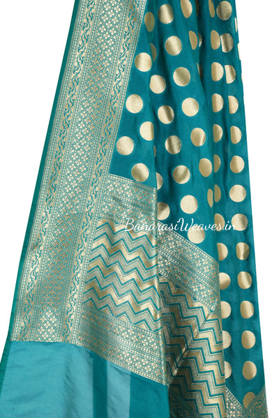 Dark Green Art Silk Banarasi Dupatta with polka dots (2) Close up