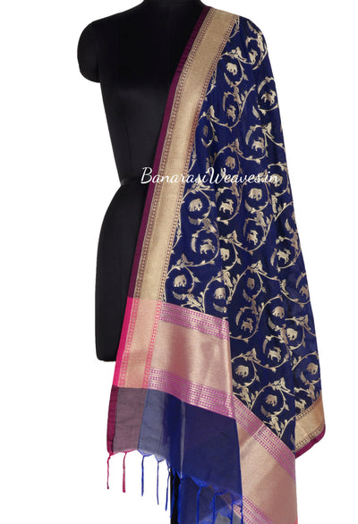 Royal Blue Art Silk Banarasi dupatta with animal motifs (1) Main