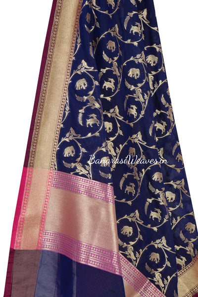 Royal Blue Art Silk Banarasi dupatta with animal motifs (2) Close up