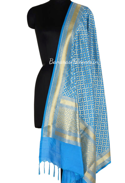 Blue Turquoise Art Silk Banarasi Dupatta with polka dot in geometrical jaal (1) Main