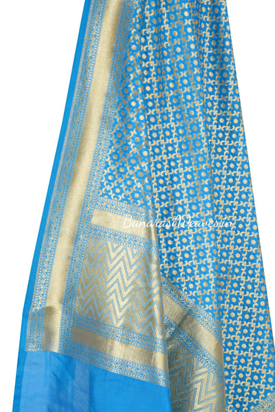 Blue Turquoise Art Silk Banarasi Dupatta with polka dot in geometrical jaal (2) Close up