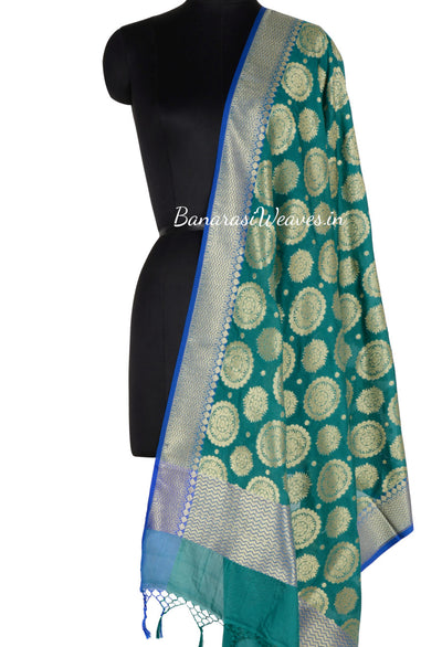 Dark Green Banarasi Dupatta with mandala motifs (1) Main