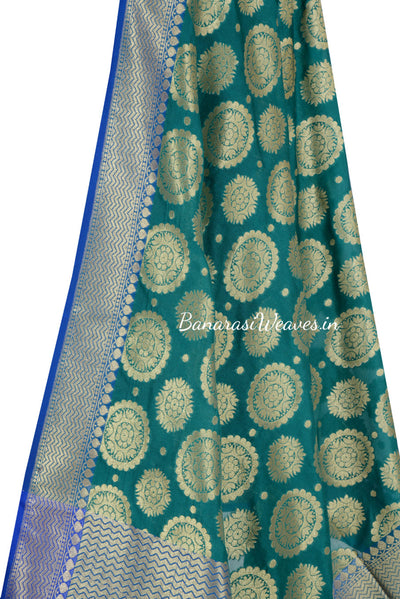 Dark Green Banarasi Dupatta with mandala motifs (2) Close up