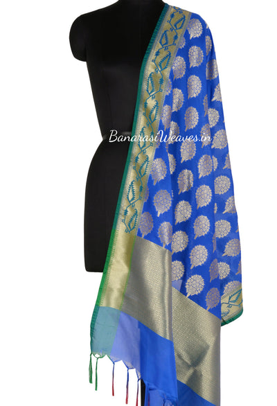 Blue Art Silk Banarasi Dupatta with flower bouquet motifs (1) Main
