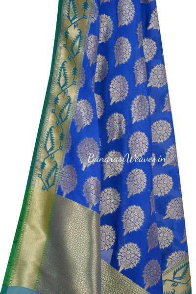 Blue Art Silk Banarasi Dupatta with flower bouquet motifs (2) Close up