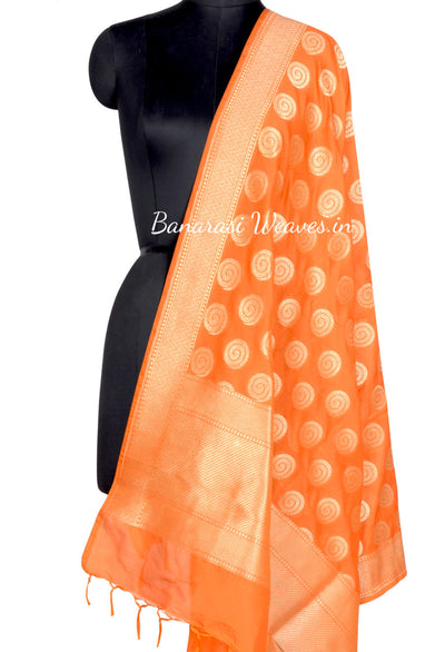 Orange Art Silk Banarasi dupatta with Spiral pattern boota (1) Main