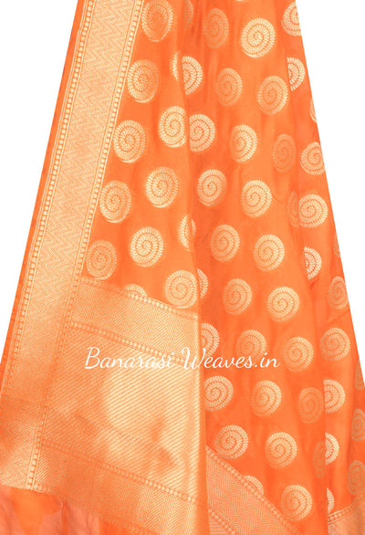 Orange Art Silk Banarasi dupatta with Spiral pattern boota (2) Close up