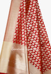Red Banarasi Dupatta with leaf and flower jaal (2) Close up