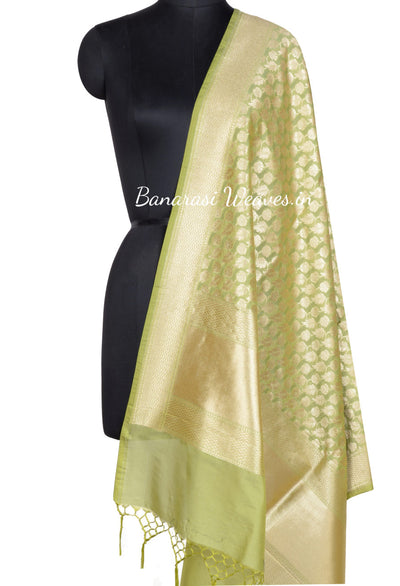 Lime Green Banarasi Dupatta with leaf and flower jaal (1) Main