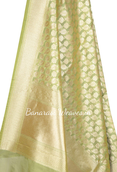 Lime Green Banarasi Dupatta with leaf and flower jaal (2) Close up