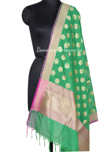 Green Art Silk Banarasi dupatta with diya flower in geometrical shape (1) Main