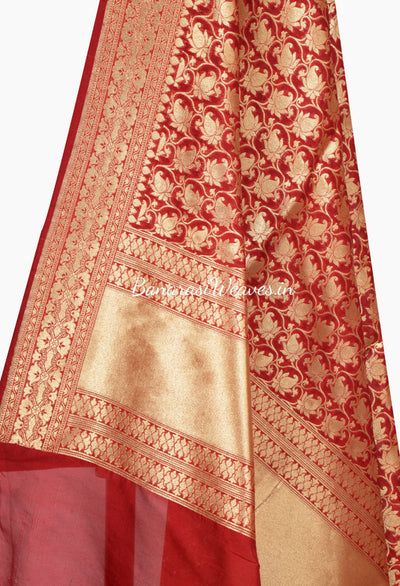 Berry color  Banarasi Dupatta with Tulip Jaal (2) Close up