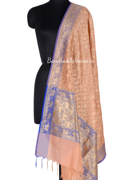 Cream Red Art Silk Banarasi Dupatta with floral jaal and elephant motifs (1) Main