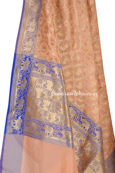 Cream Red Art Silk Banarasi Dupatta with floral jaal and elephant motifs (2) Close up
