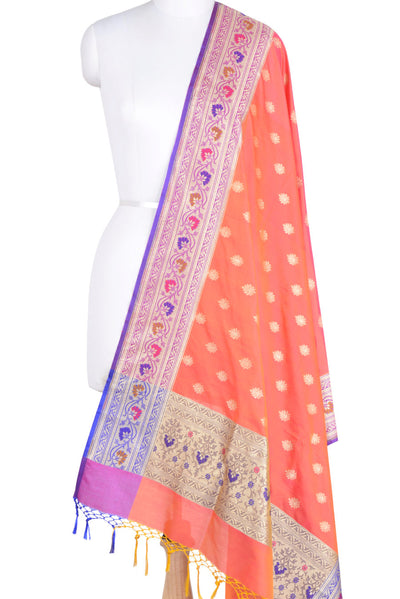 Orange Banarasi Dupatta with multi color border & leaf motif (1) Main
