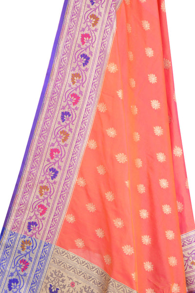 Orange Banarasi Dupatta with multi color border & leaf motif (2) Close up
