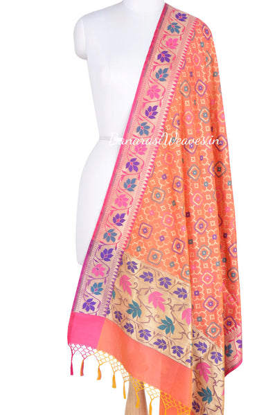 Bright orange Banarasi dupatta with zari and resham embroidery (1) Main