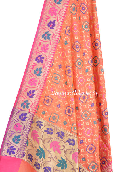 Bright orange Banarasi dupatta with zari and resham embroidery (2) Close up