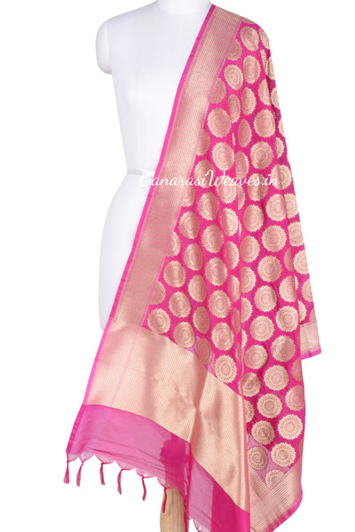 Pink Banarasi Dupatta with Mandala shaped motifs (1) Main