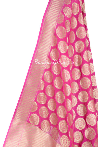 Pink Banarasi Dupatta with Mandala shaped motifs (2) Close up