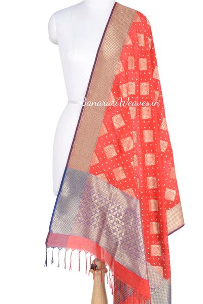 Red Banarasi dupatta with patterned square motifs (1) Main