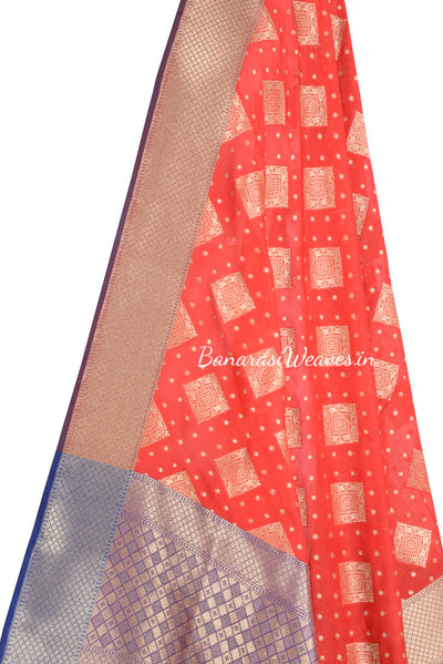 Red Banarasi dupatta with patterned square motifs (2) Close up